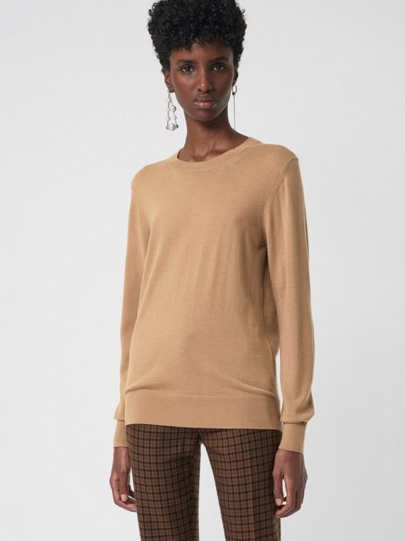 Vintage Check Detail Merino Wool Sweater in Camel