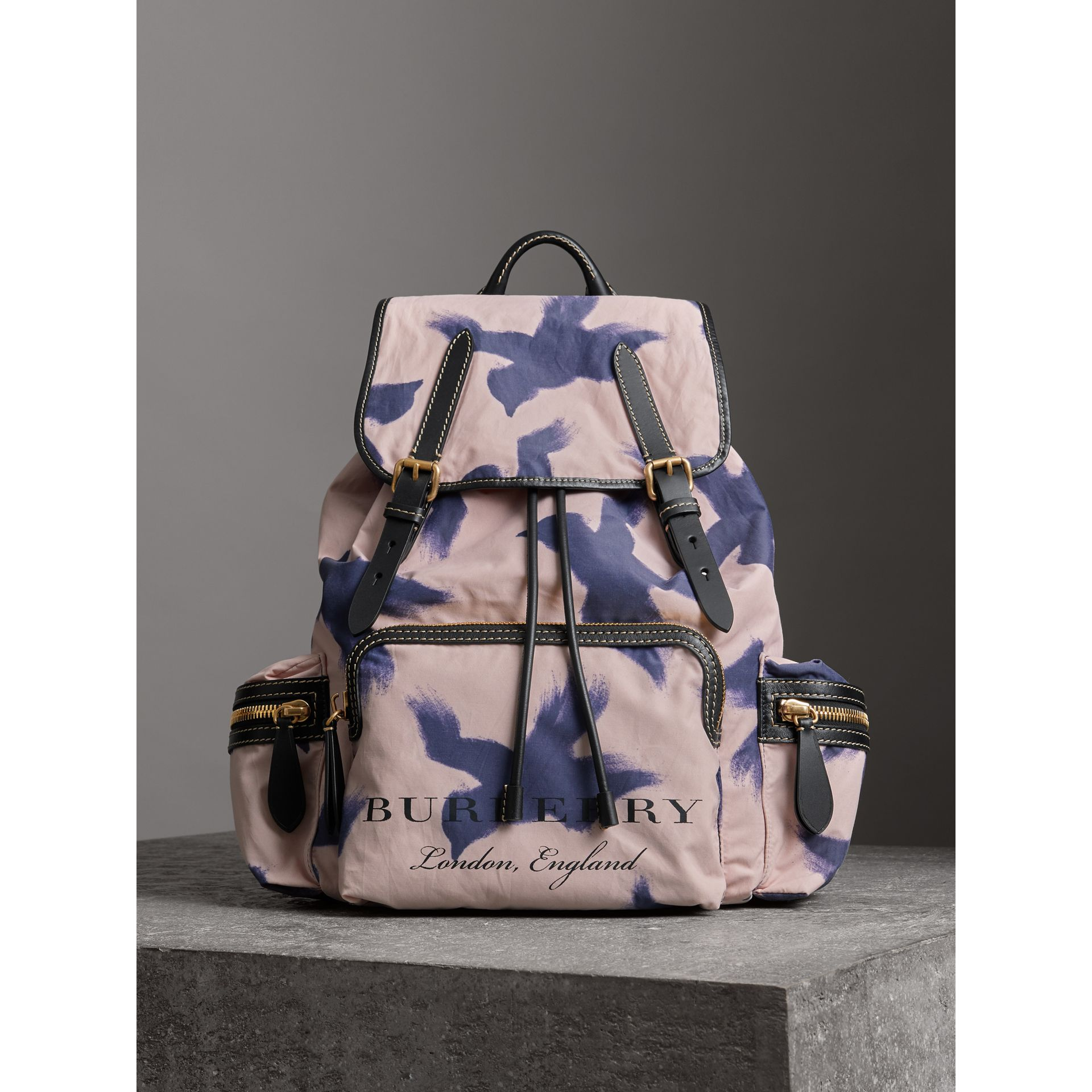 The Large Rucksack in Bird Print Canvas and Leather in Multicolour - Men | Burberry United Kingdom - gallery image 6