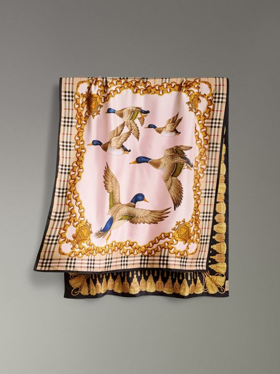 Archive Scarf Print Silk Scarf in Gold