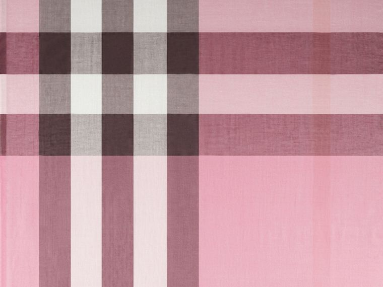 Rose pink Check Modal Cashmere and Silk Scarf Rose Pink - cell image 1
