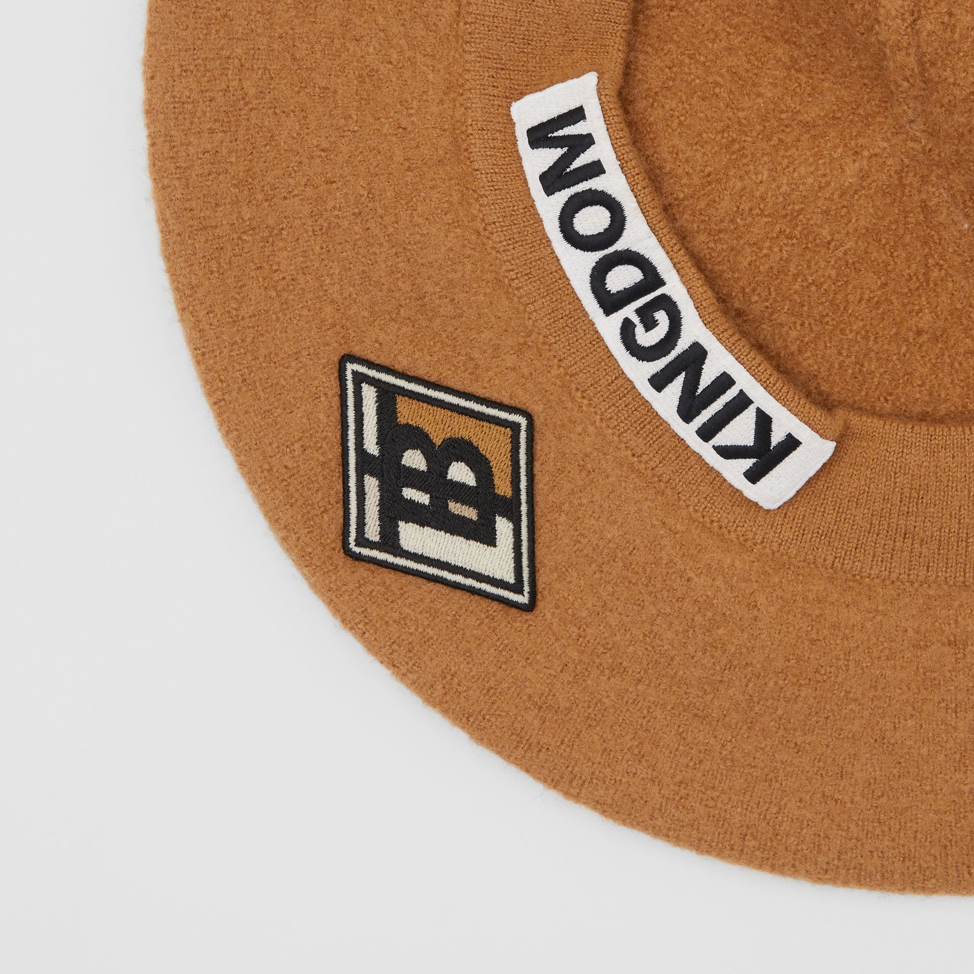 Logo Graphic Merino Wool Beret in Burnt Almond | Burberry Canada - gallery image 1