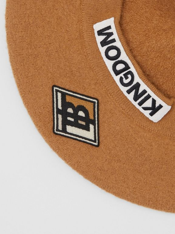 Logo Graphic Merino Wool Beret in Burnt Almond | Burberry United Kingdom - cell image 1