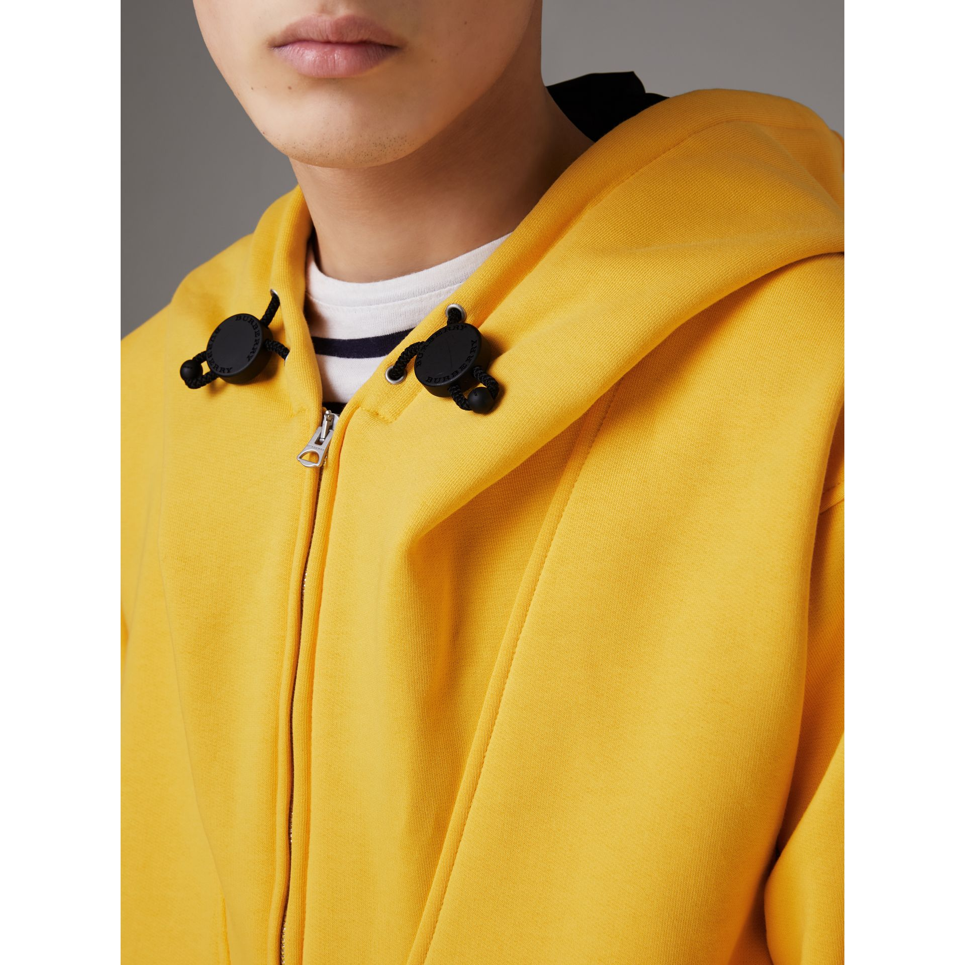 Oversized Sweatshirt Half-zip Hoodie in Bright Yellow - Men | Burberry United Kingdom - gallery image 4