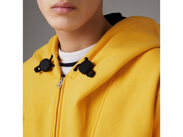Oversized Sweatshirt Half-zip Hoodie in Bright Yellow - Men | Burberry - cell image 4