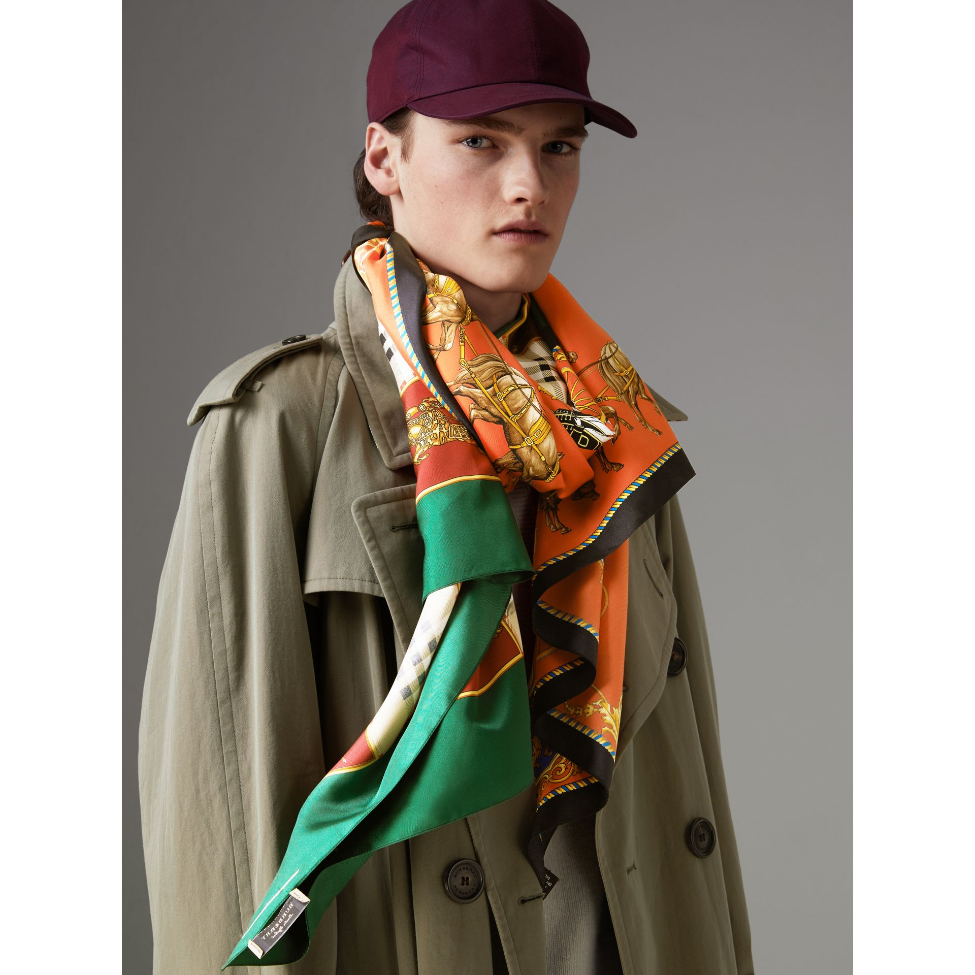 Archive Scarf Print Silk Oversized Scarf in Multicolour - Women | Burberry - gallery image 5