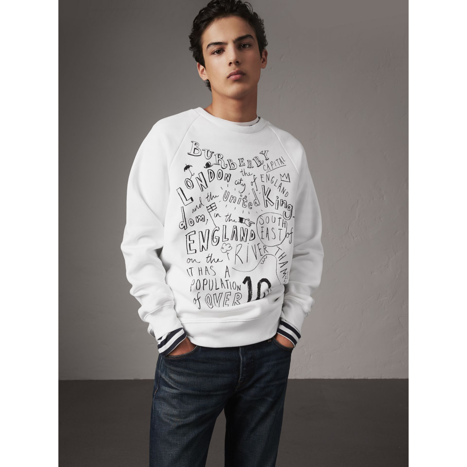 London Icons Print Sweatshirt in White - Men | Burberry - gallery image 0