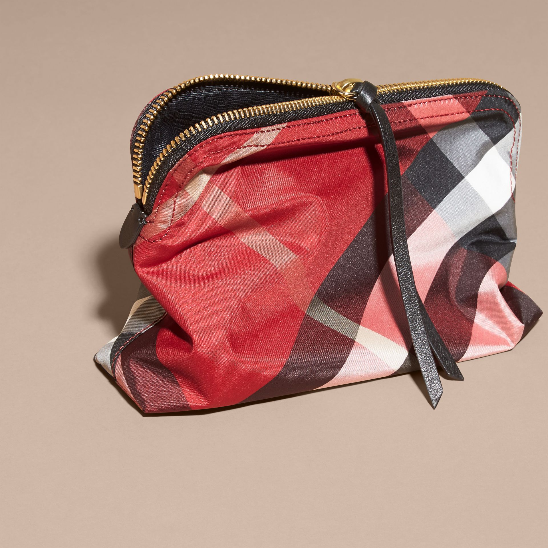Large Zip-top Check Pouch Parade Red - gallery image 4