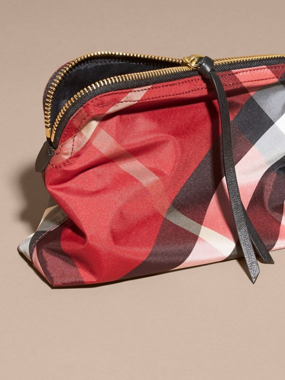 Large Zip-top Check Pouch in Parade Red - Women | Burberry - cell image 3