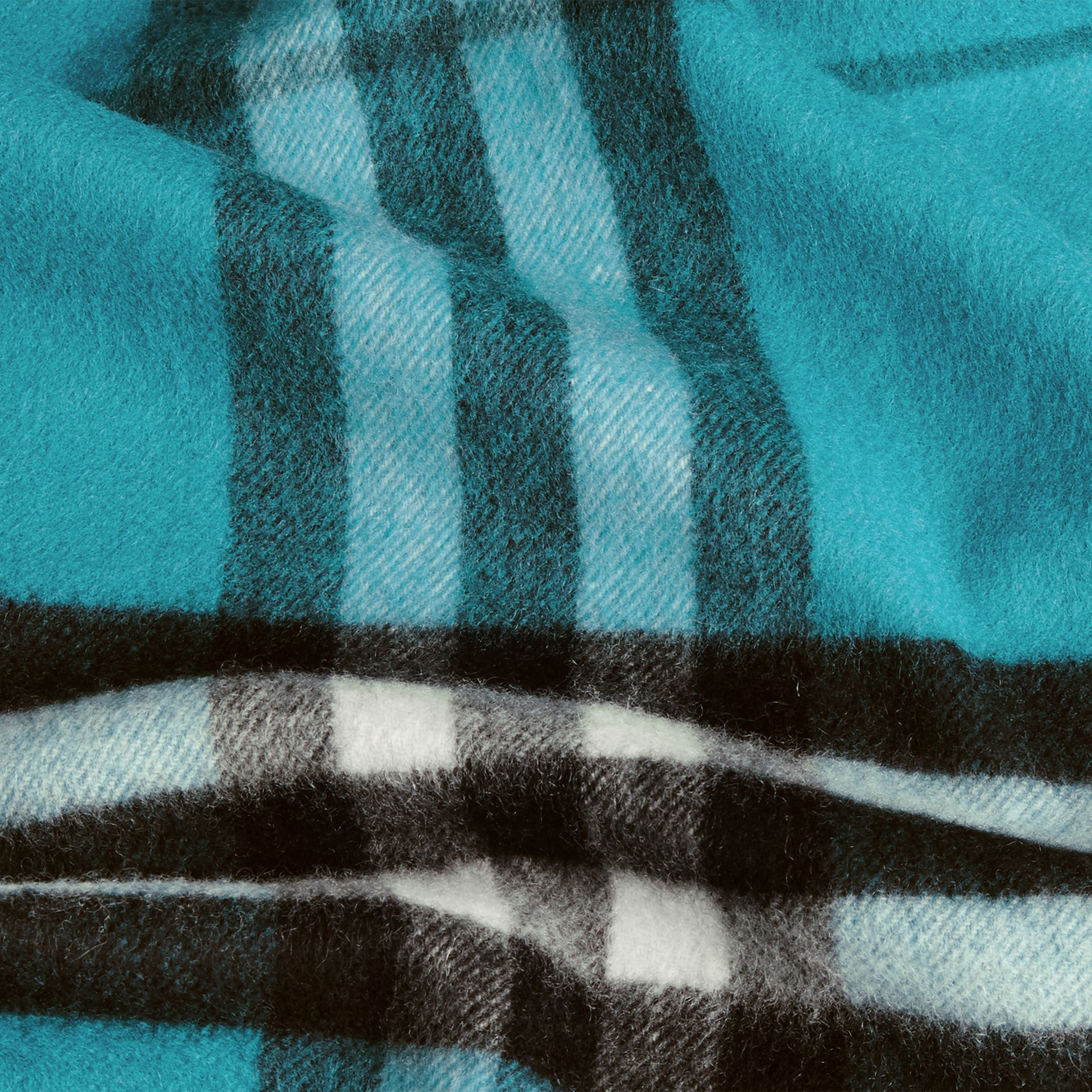 Dark aqua The Classic Cashmere Scarf in Check Dark Aqua - gallery image 5