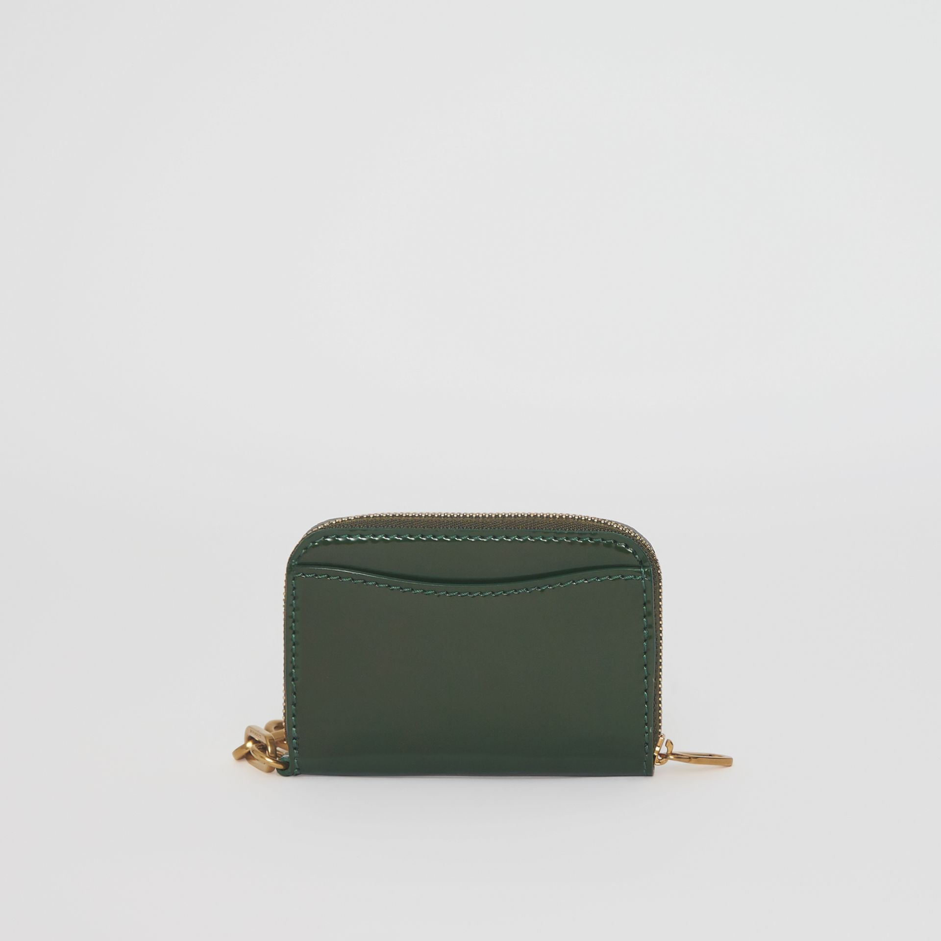 Link Detail Patent Leather Ziparound Wallet in Dark Forest Green - Women | Burberry United Kingdom - gallery image 5