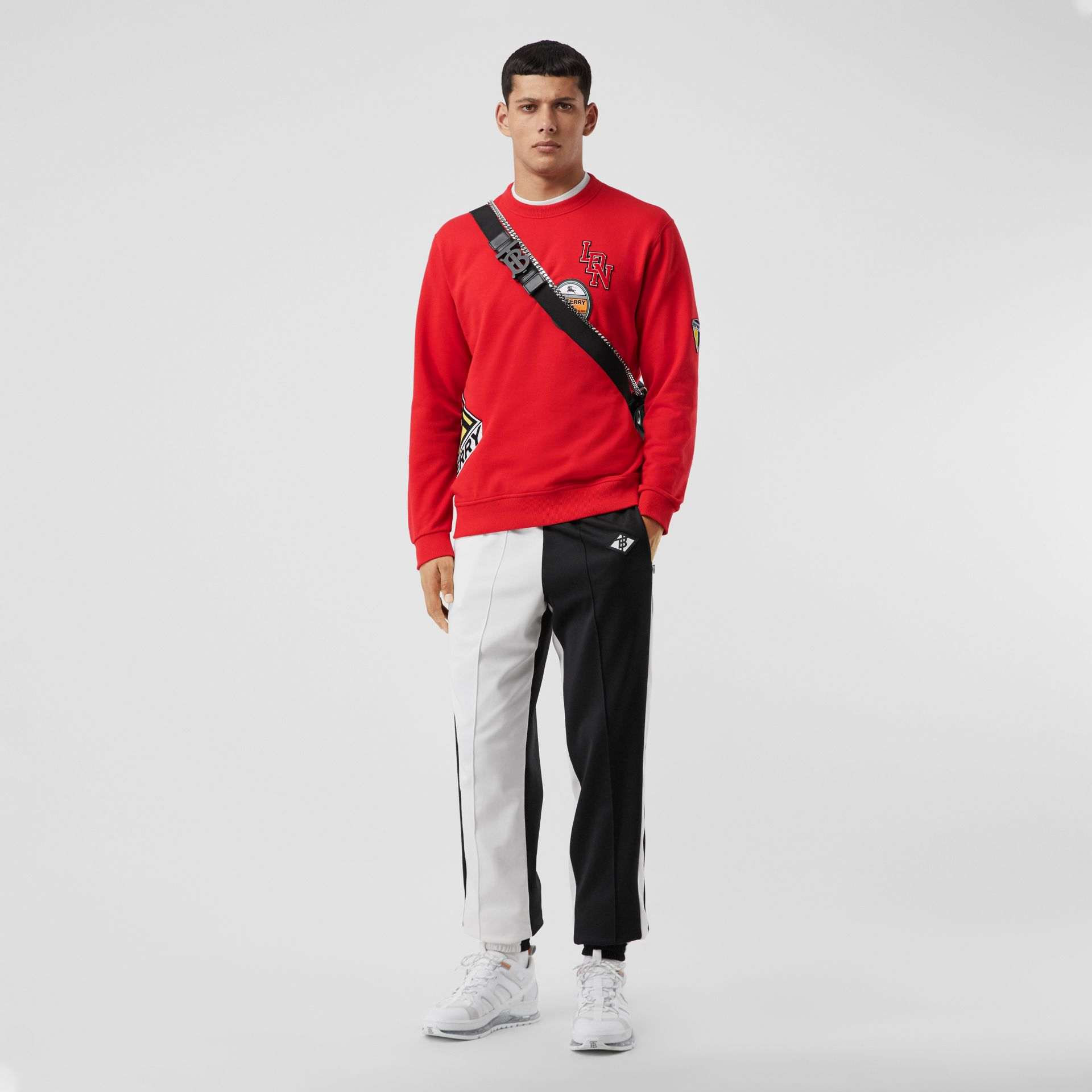 Logo Graphic Cotton Sweatshirt in Bright Red - Men | Burberry - gallery image 0