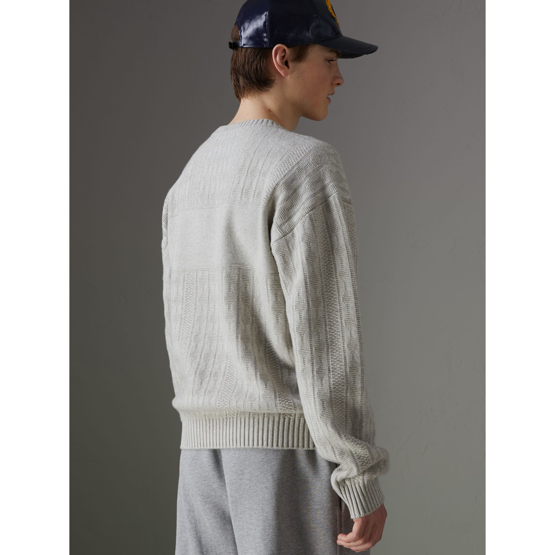 Reissued Lambswool Cotton Sweater in Light Grey Melange - Men | Burberry Singapore - gallery image 2