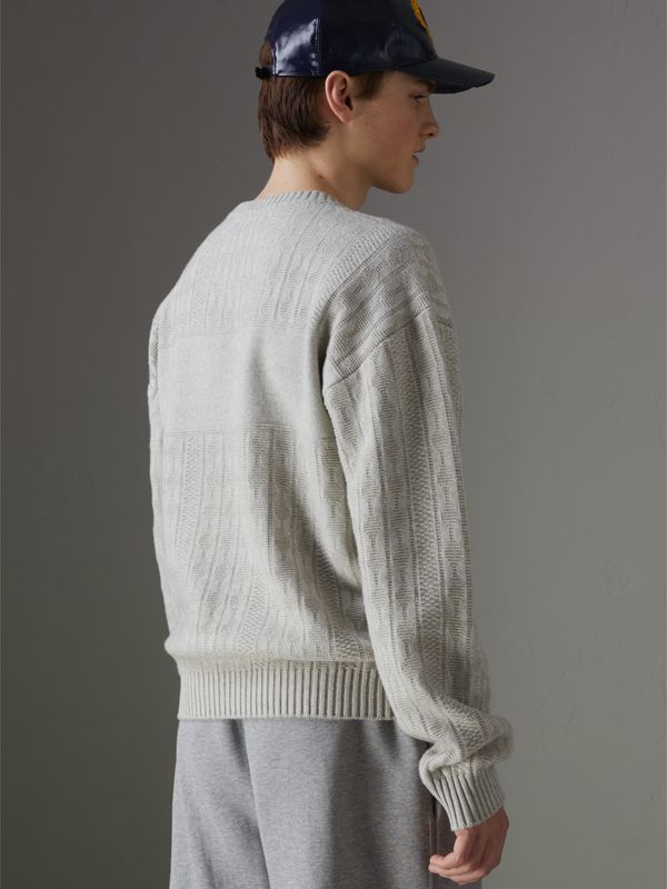 Reissued Lambswool Cotton Sweater in Light Grey Melange - Men | Burberry - cell image 2
