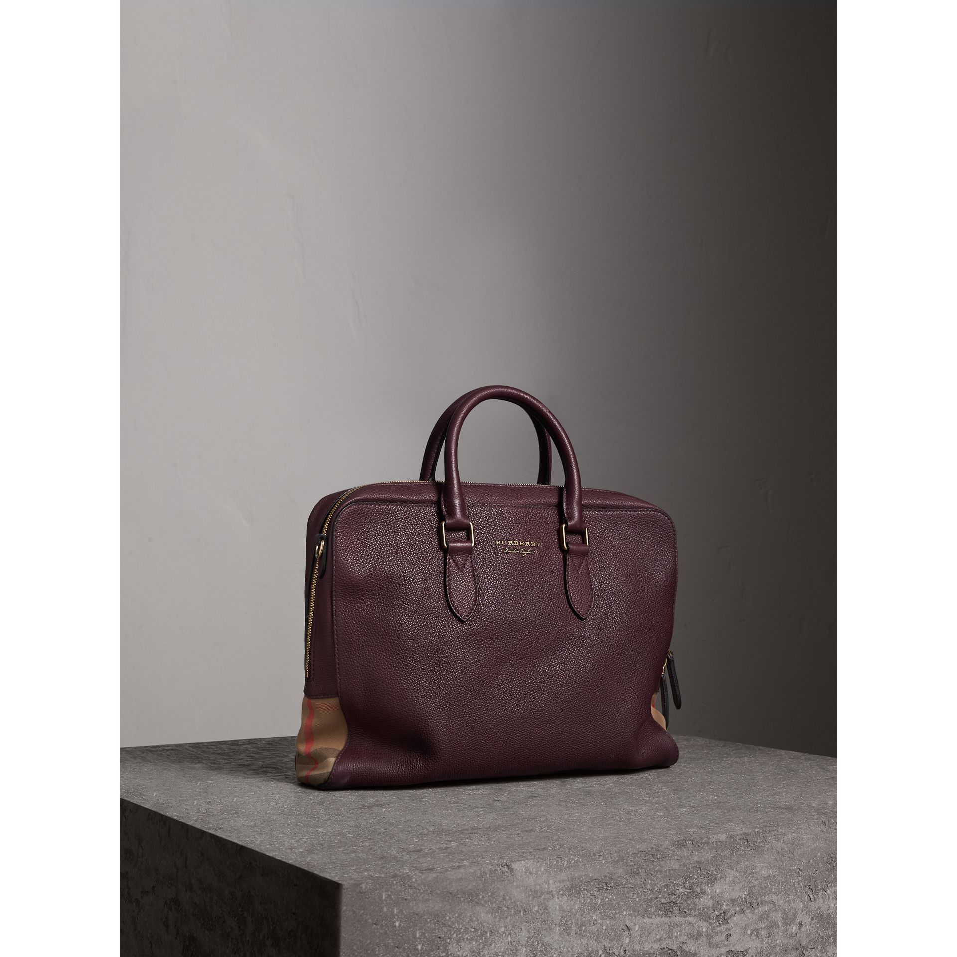 Leather and House Check Briefcase in Wine - Men | Burberry - gallery image 1