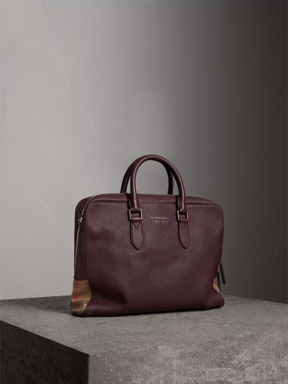 Leather and House Check Briefcase in Wine
