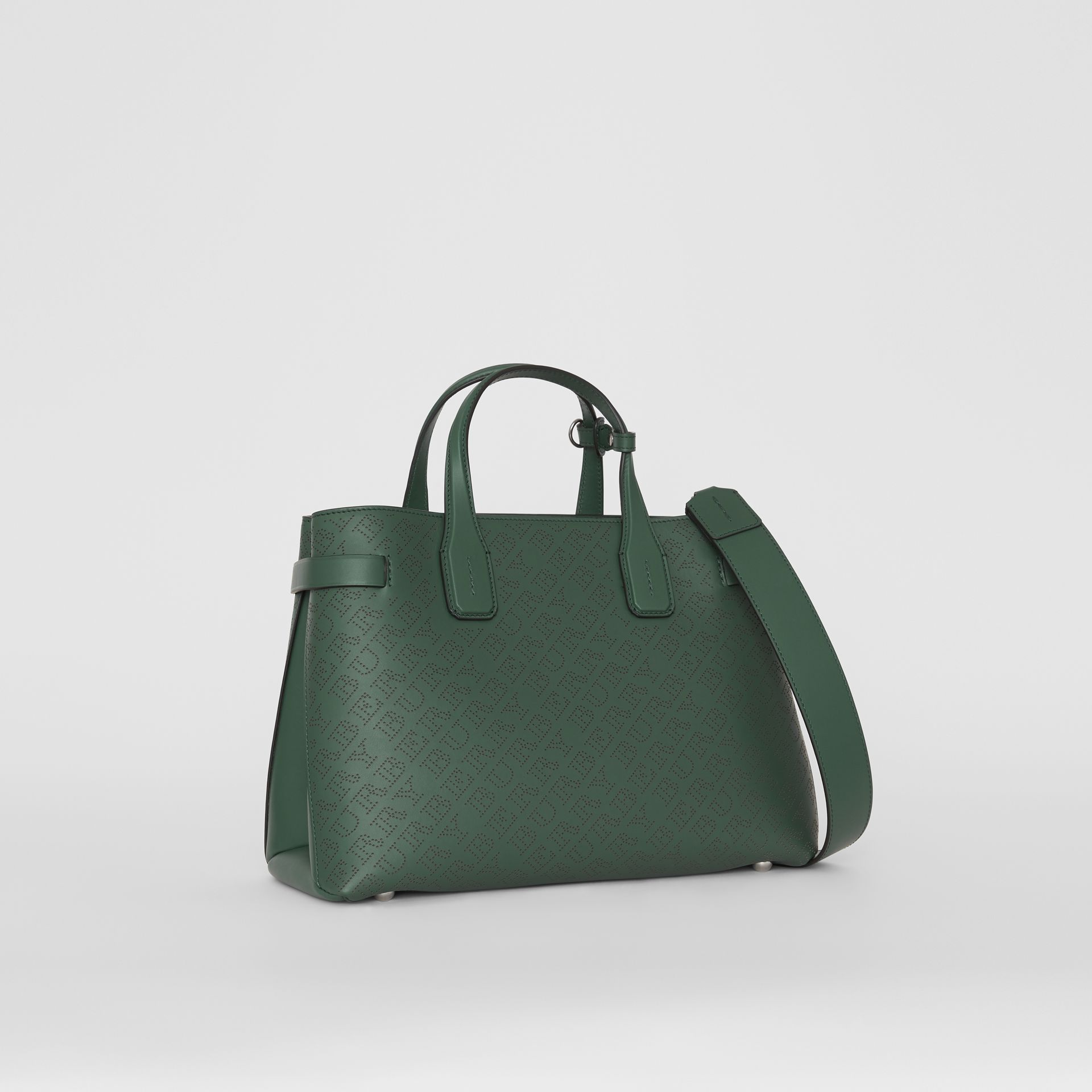 The Medium Banner in Perforated Logo Leather in Vintage Green - Women | Burberry - gallery image 0