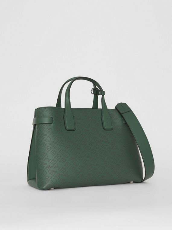 The Medium Banner in Perforated Logo Leather in Vintage Green