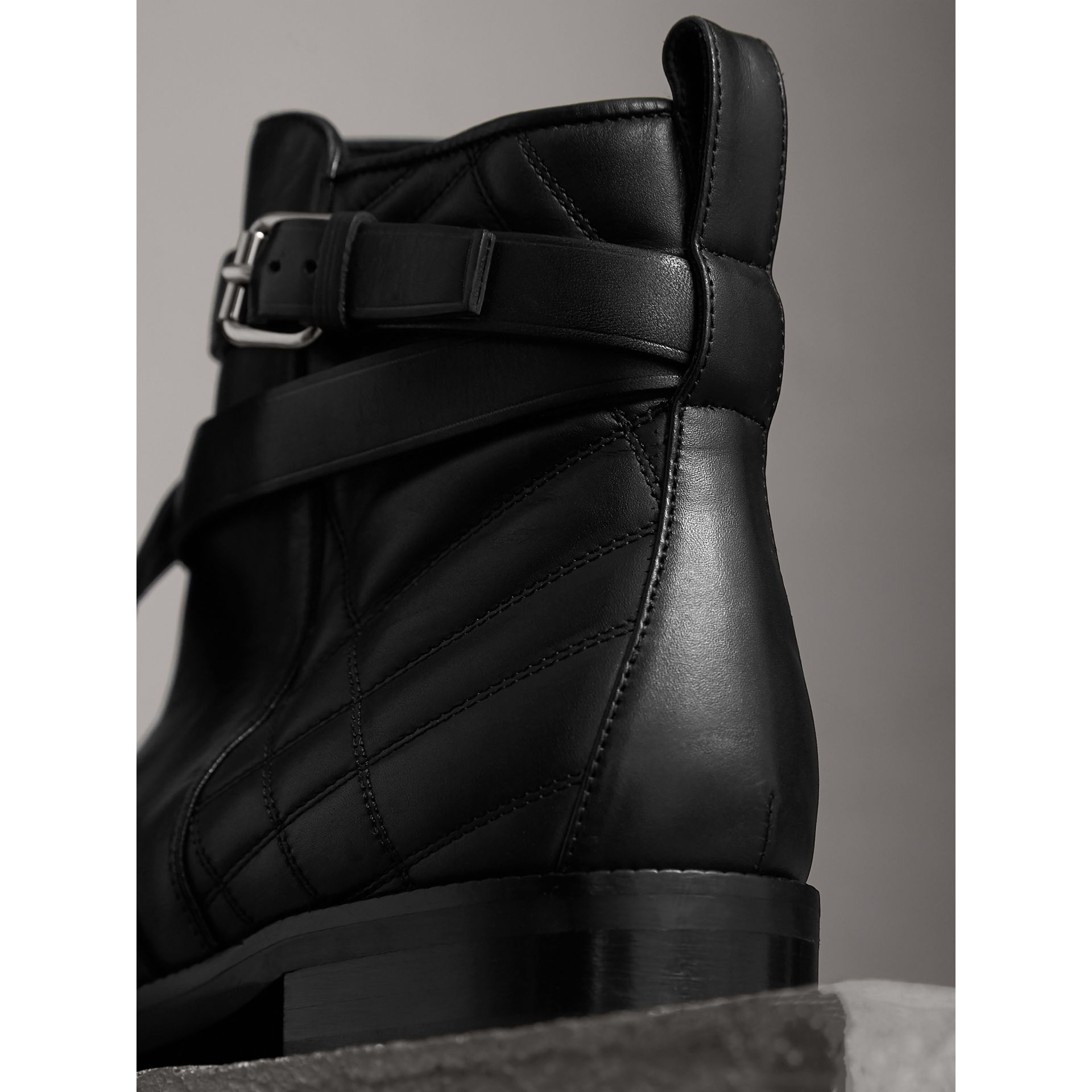 Strap Detail Quilted Leather Ankle Boots in Black - Women | Burberry Australia - gallery image 3