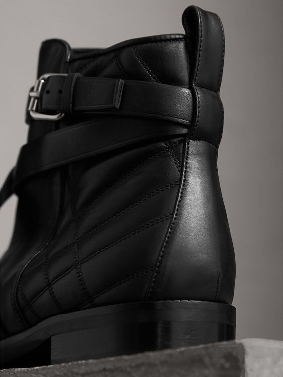 Strap Detail Quilted Leather Ankle Boots in Black - Women | Burberry Australia - cell image 2