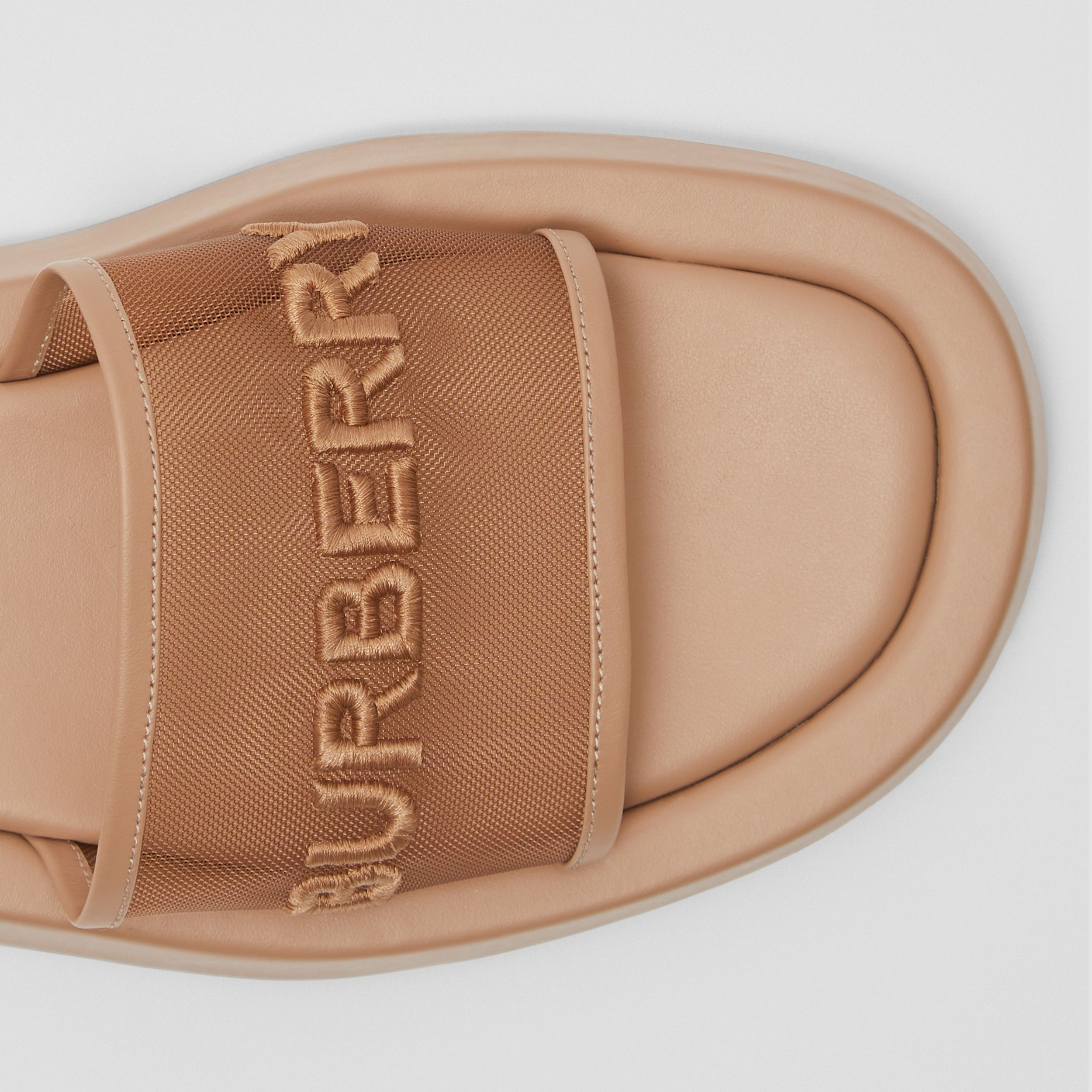 Embroidered Logo Mesh and Leather Slides in Camel - Women | Burberry - 2