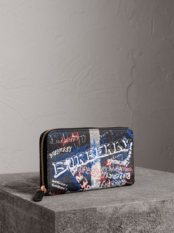 Doodle Print Coated Canvas Ziparound Wallet in Black