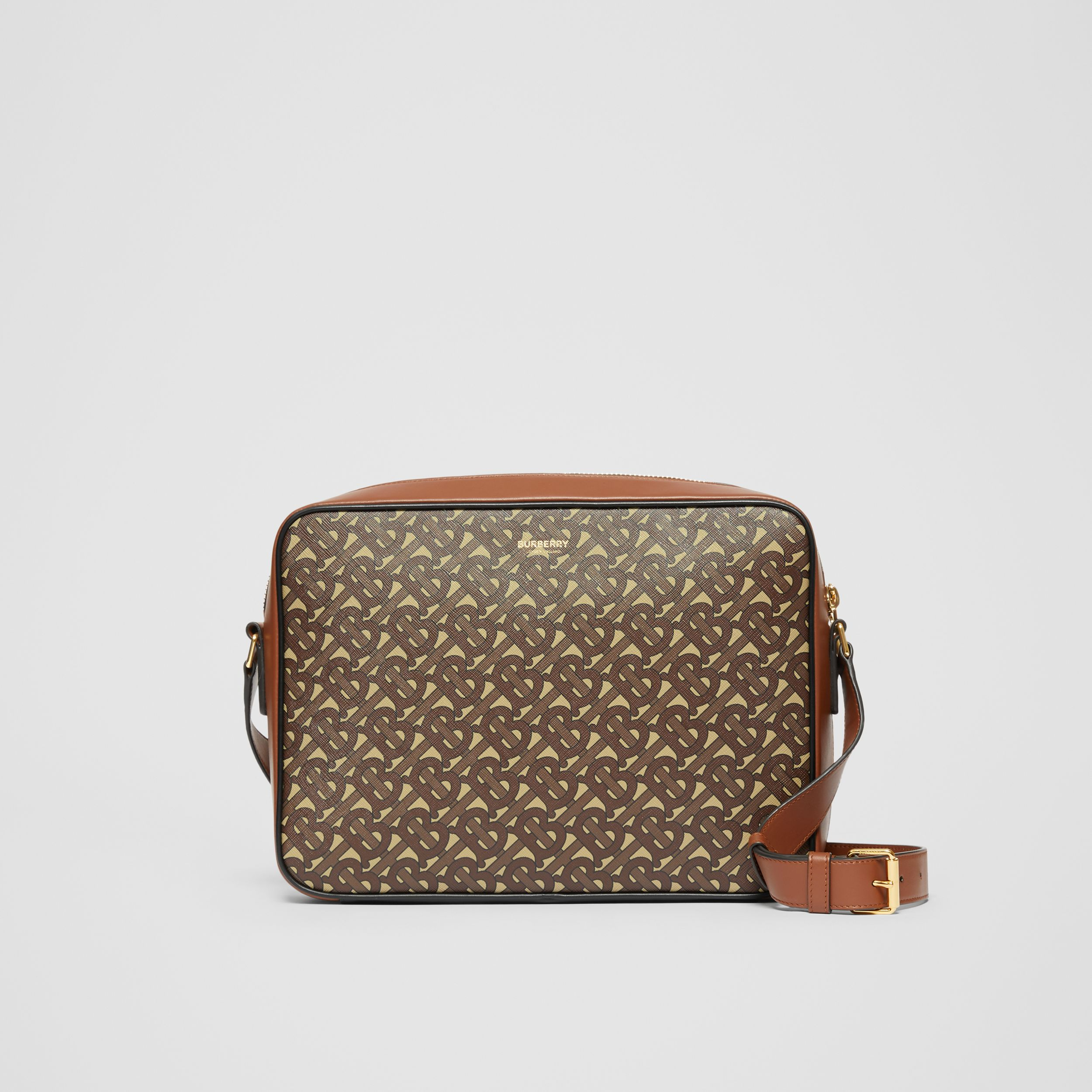 Monogram Print E-canvas Messenger Bag in Bridle Brown - Men | Burberry Canada - 1