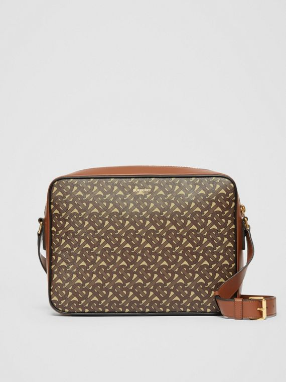 Monogram Print E-canvas Messenger Bag in Bridle Brown