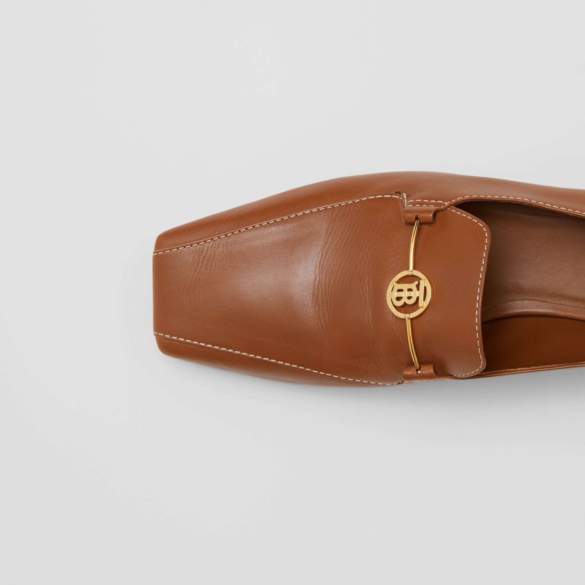 Monogram Motif Leather Loafers in Tan - Women | Burberry United Kingdom - gallery image 1