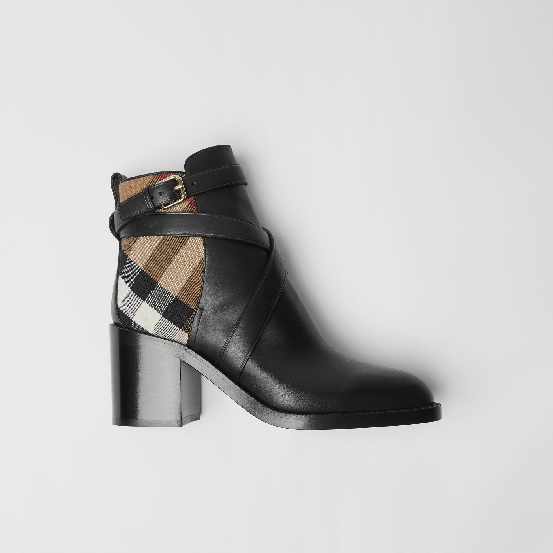Bottines en cuir et coton House check (Noir) - Femme | Burberry - photo de la galerie 0