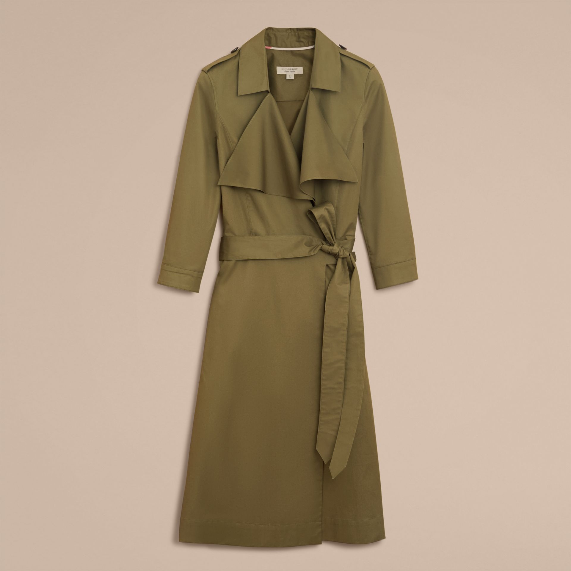 Oversize Lapel Stretch Cotton Trench Dress - gallery image 4