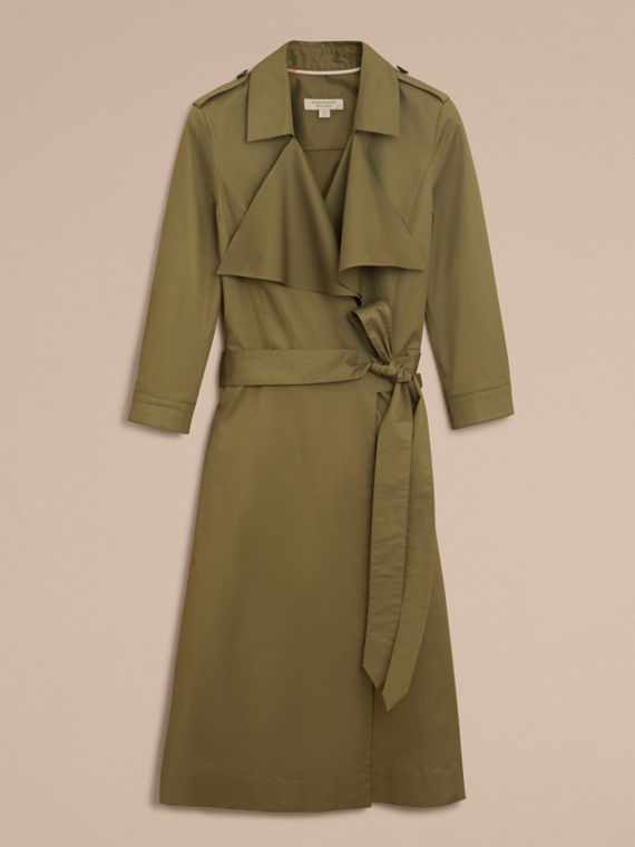 Oversize Lapel Stretch Cotton Trench Dress - cell image 3