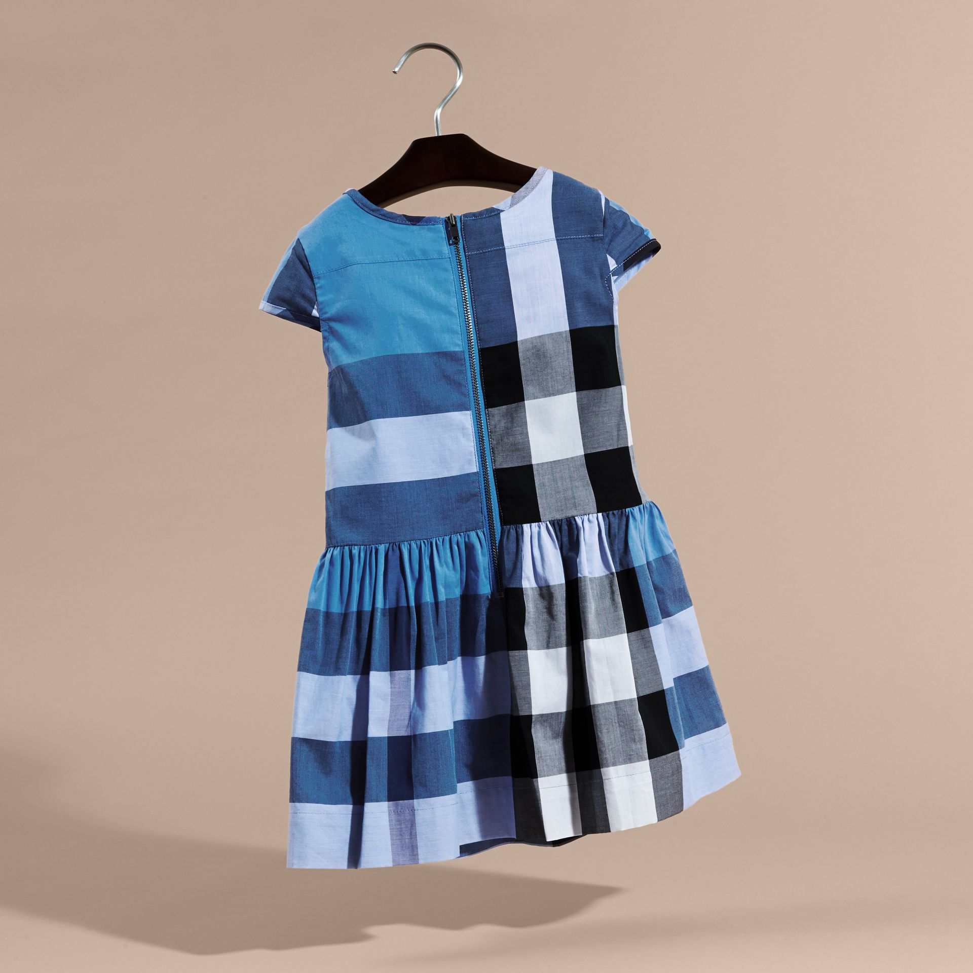 Cap-sleeved Check Cotton Voile Dress Hydrangea Blue - gallery image 4