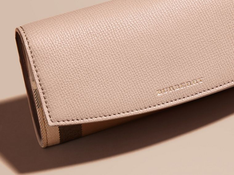 House Check And Leather Continental Wallet in Pale Orchid - Women | Burberry - cell image 4