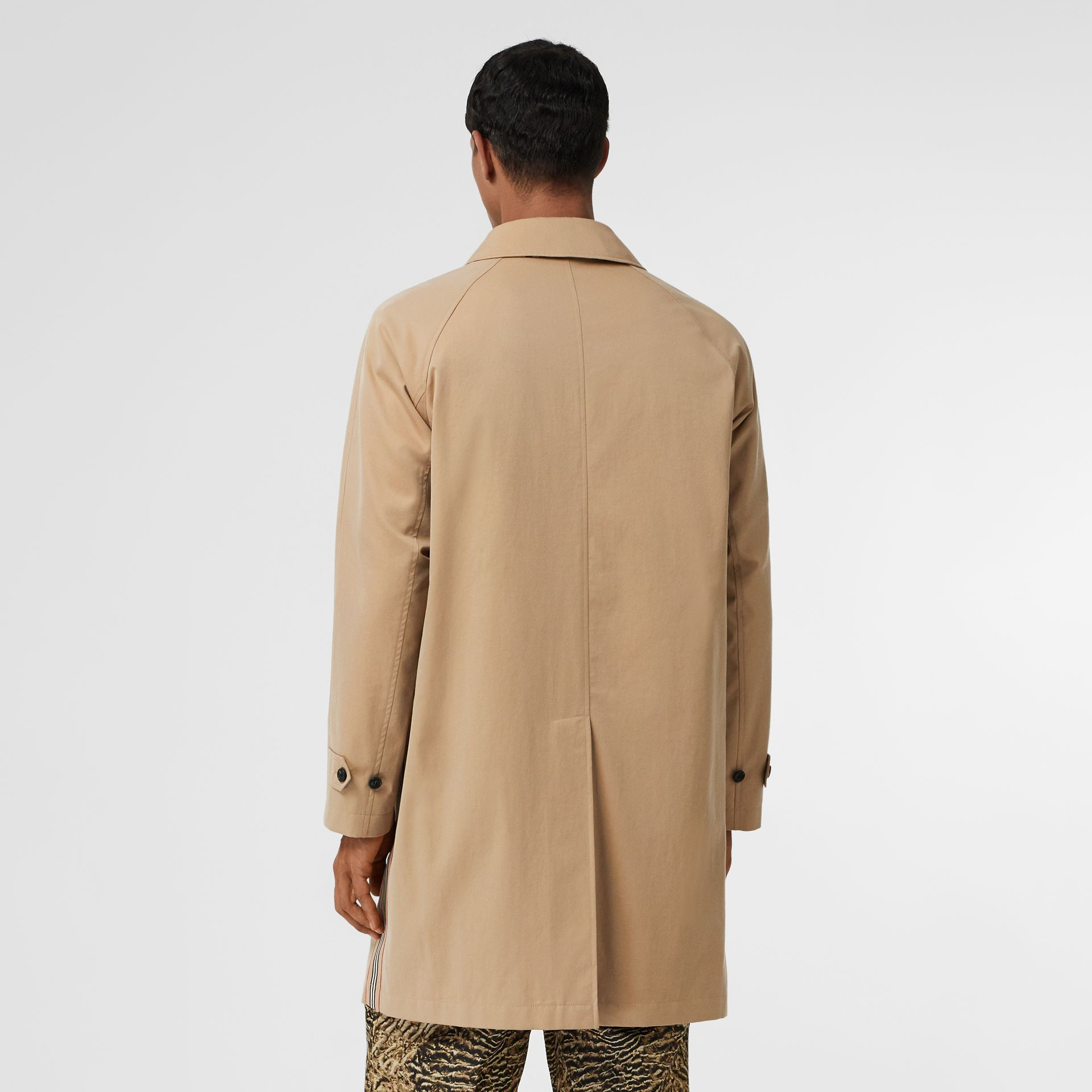 Icon Stripe Detail Tropical Gabardine Car Coat in Honey - Men | Burberry Australia - gallery image 2