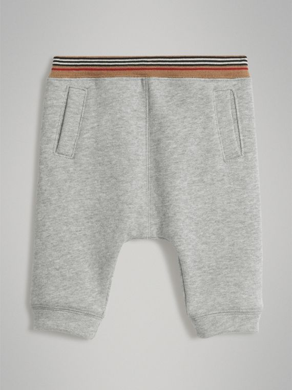 Heritage Stripe Cotton Jersey Sweatpants in Grey Melange