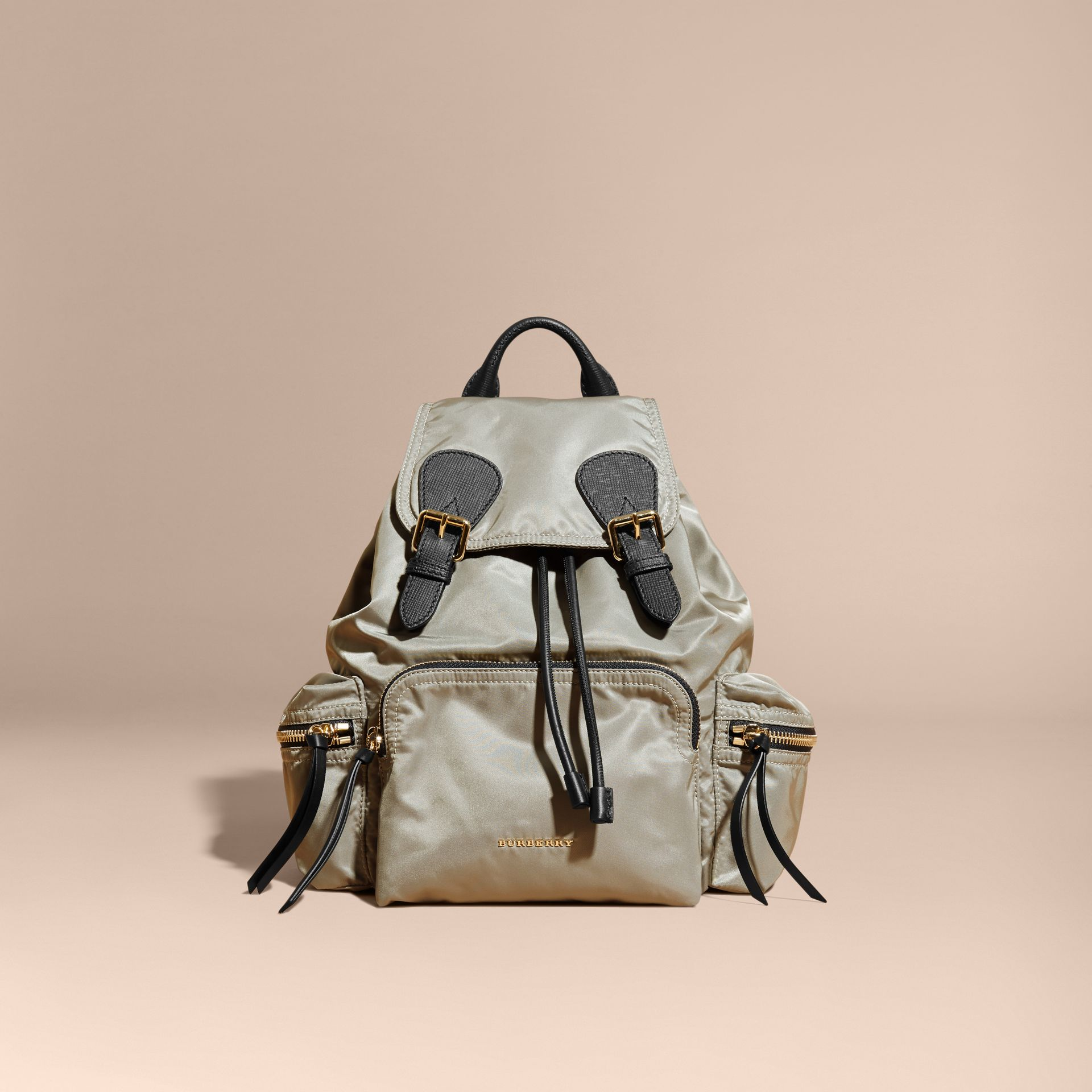The Medium Rucksack in Technical Nylon and Leather Thistle Grey - gallery image 9