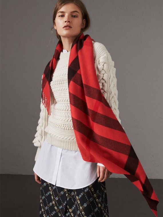 The Burberry Bandana 格紋喀什米爾圍巾 (橘紅色)