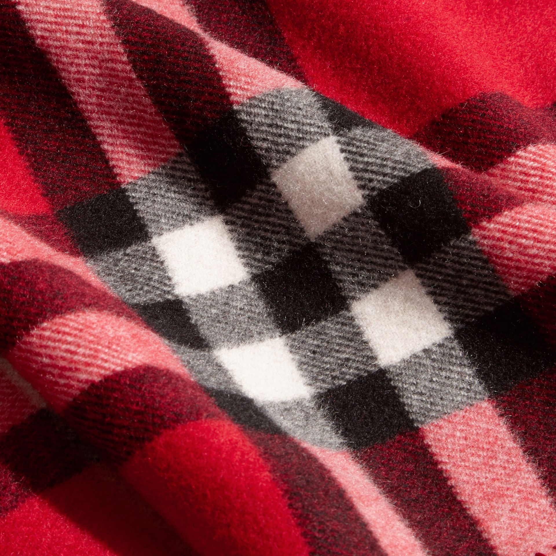 Parade red Check Wool Cashmere Hooded Poncho - gallery image 2