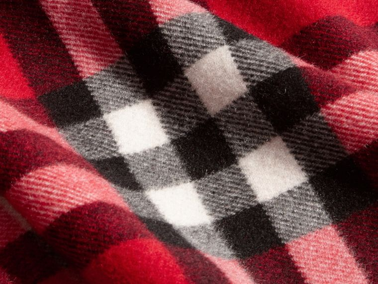 Check Wool Cashmere Hooded Poncho in Parade Red - Girl | Burberry Canada - cell image 1