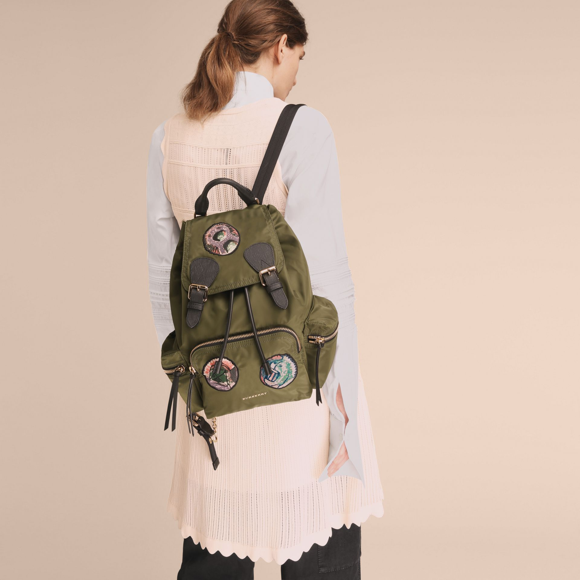 The Medium Rucksack in Technical Nylon with Pallas Heads Appliqué Canvas Green - gallery image 3