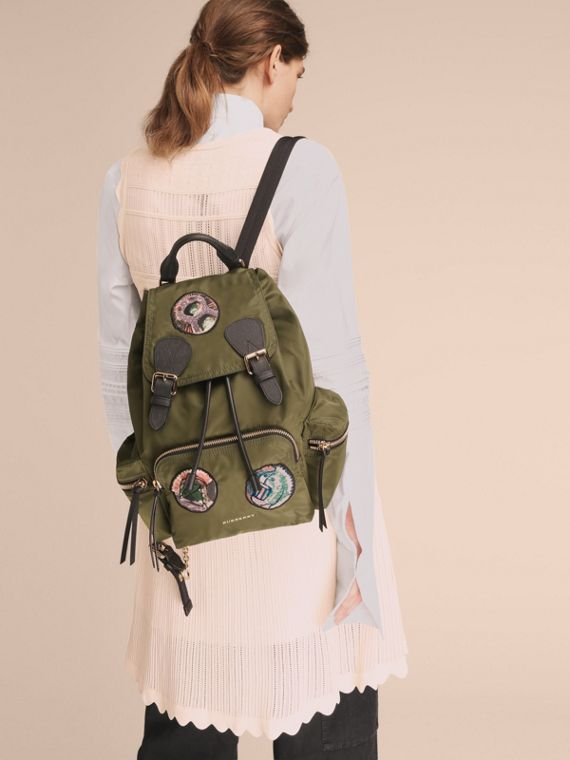 The Medium Rucksack in Technical Nylon with Pallas Heads Appliqué Canvas Green - cell image 2