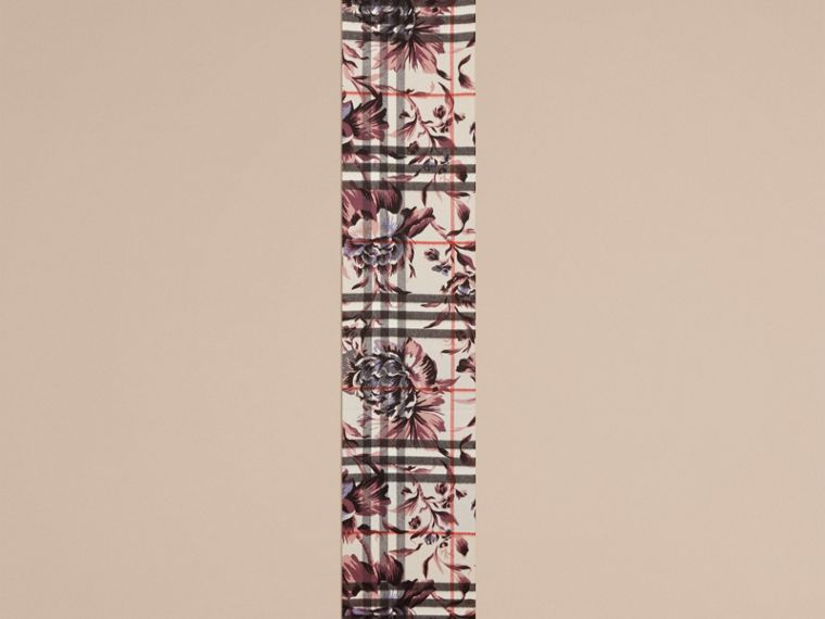The Classic Cashmere Scarf in Check with Peony Rose Print - cell image 1