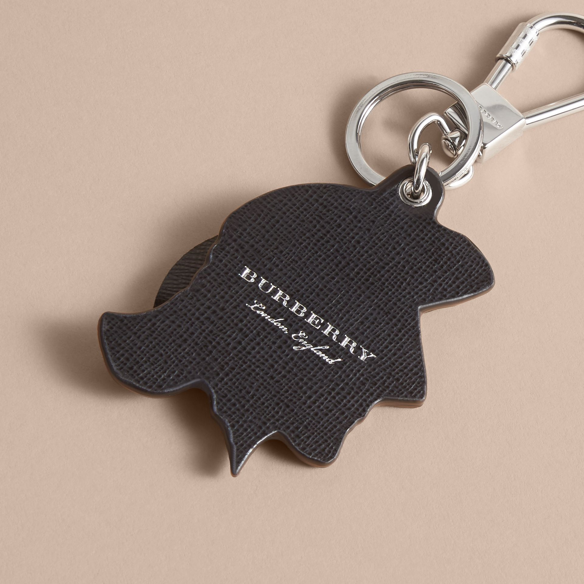 Pallas Helmet Motif Leather Key Ring in Black/white - Men | Burberry - gallery image 4
