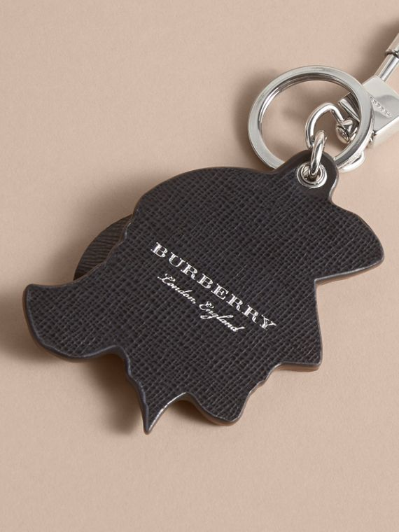 Pallas Helmet Motif Leather Key Ring in Black/white - Men | Burberry - cell image 3