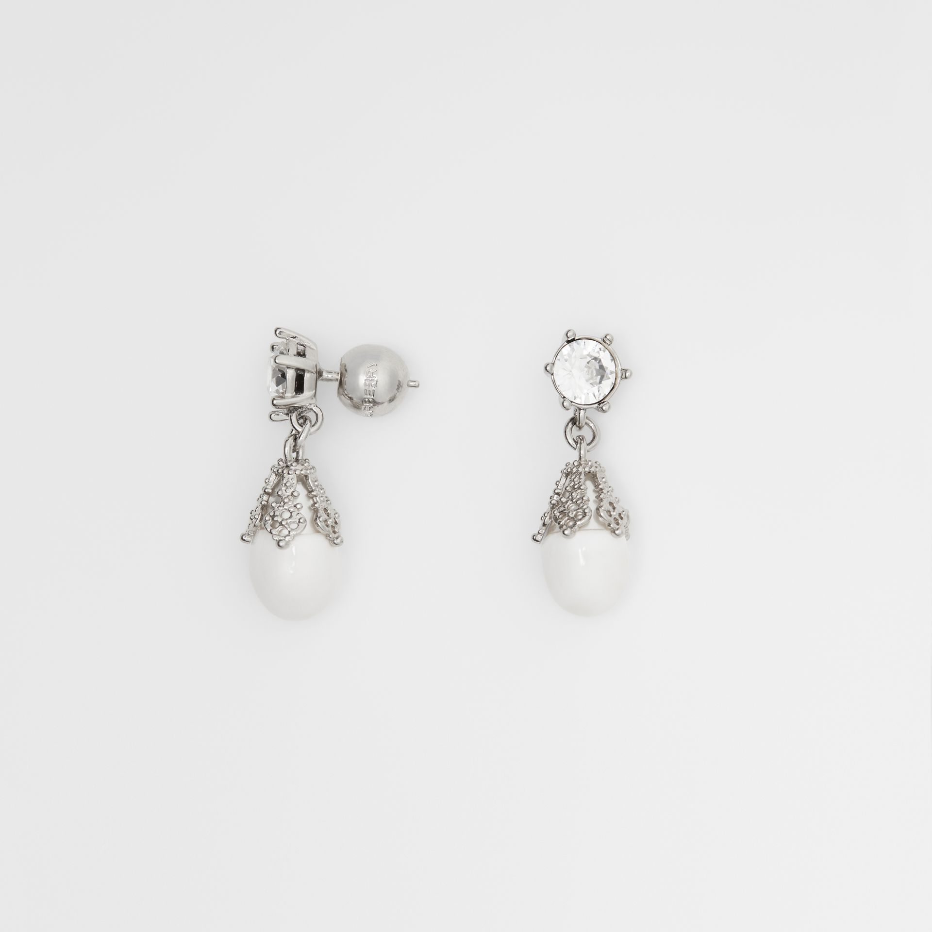 Palladium-plated Faux Pearl Charm Earrings in White/palladium - Women | Burberry Singapore - gallery image 3