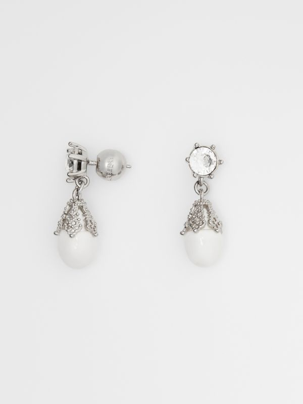 Palladium-plated Faux Pearl Charm Earrings in White/palladium - Women | Burberry Singapore - cell image 3