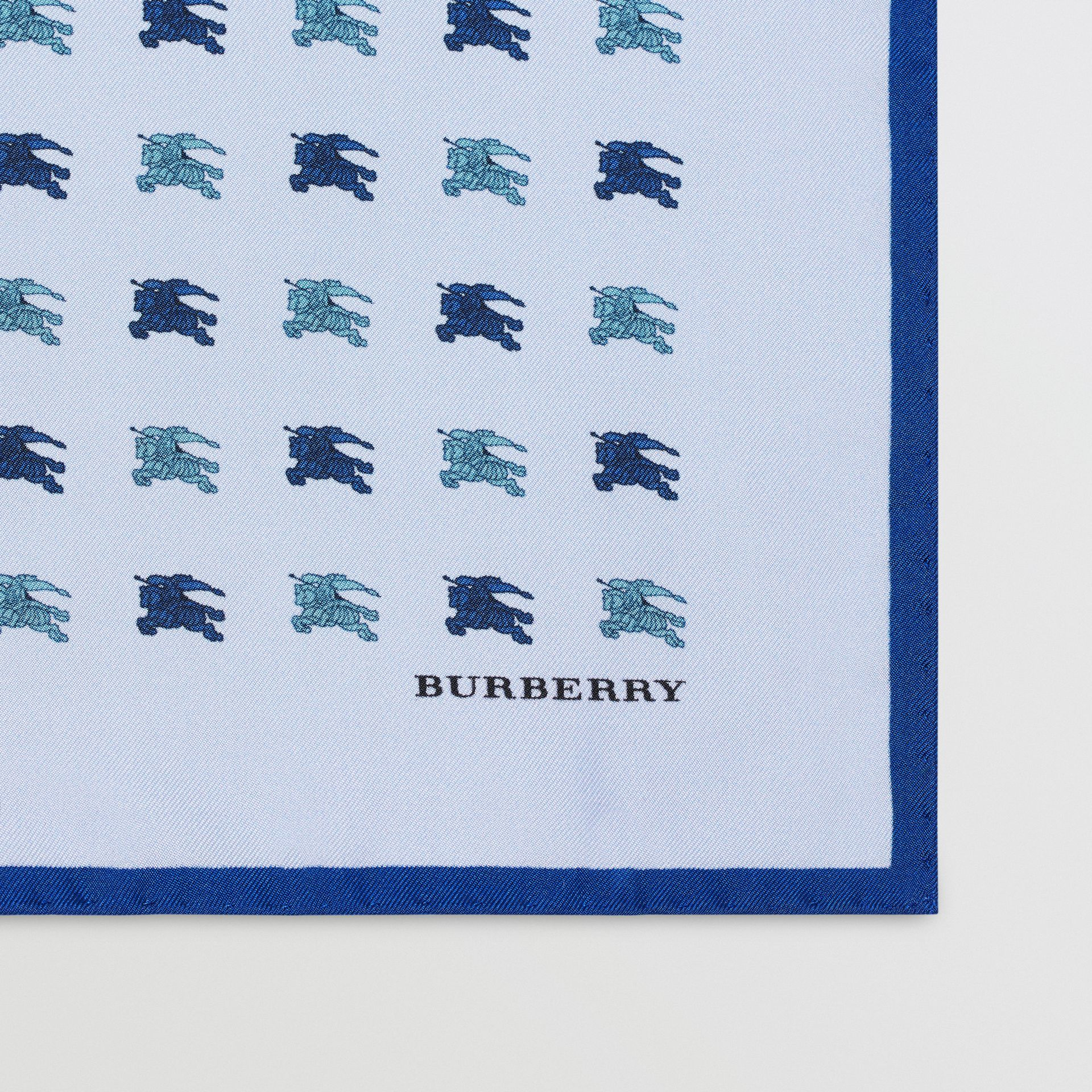 Equestrian Knight Print Silk Pocket Square in Light Blue - Men | Burberry Canada - gallery image 1