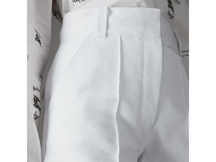 Cotton Drill High-waisted Trousers in White - Women | Burberry - cell image 1