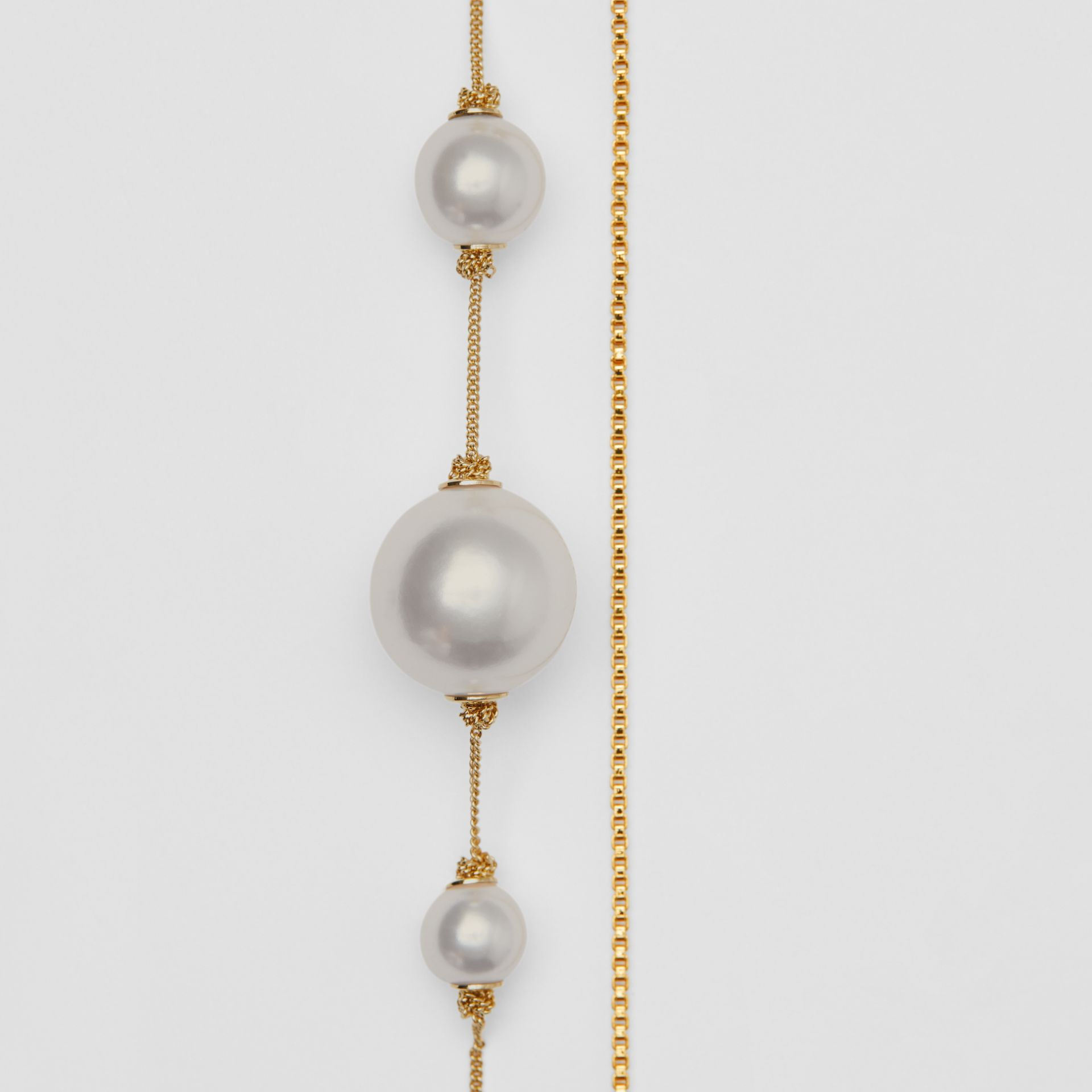 Faux Pearl and Oval Gold-plated Drop Earrings in Light - Women | Burberry Canada - gallery image 3