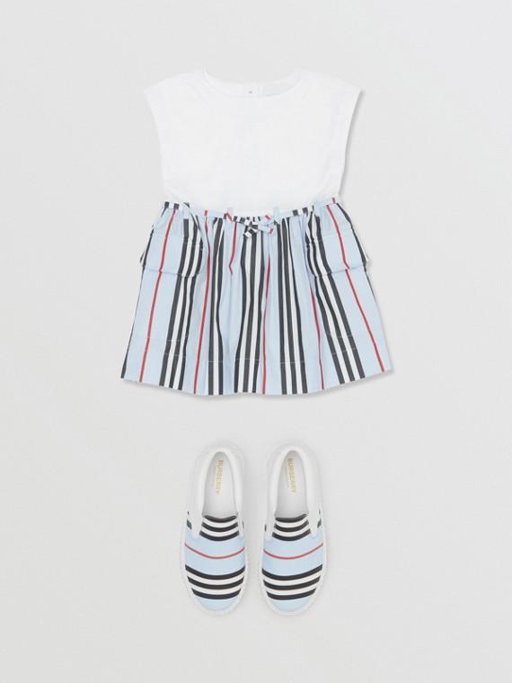 Icon Stripe Cotton Dress in White/pale Blue